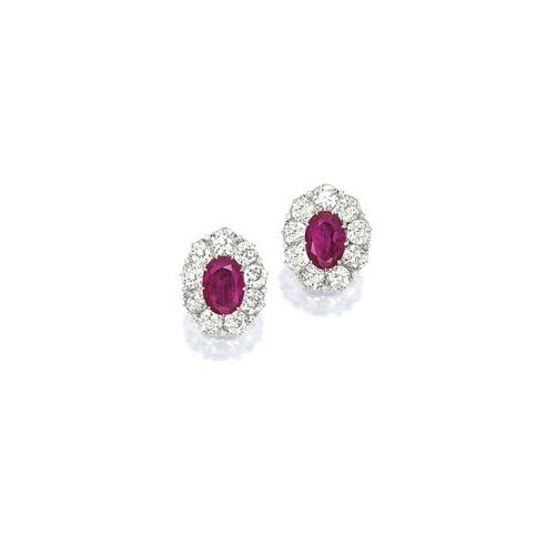 Pair of Ruby and Diamond Ear Clips
