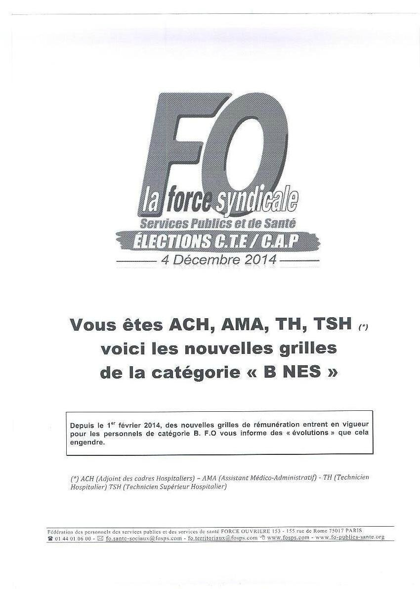 Reclassement grille categorie b ach ama th tsh syndicat - Grille indiciaire assistant medico administratif ...