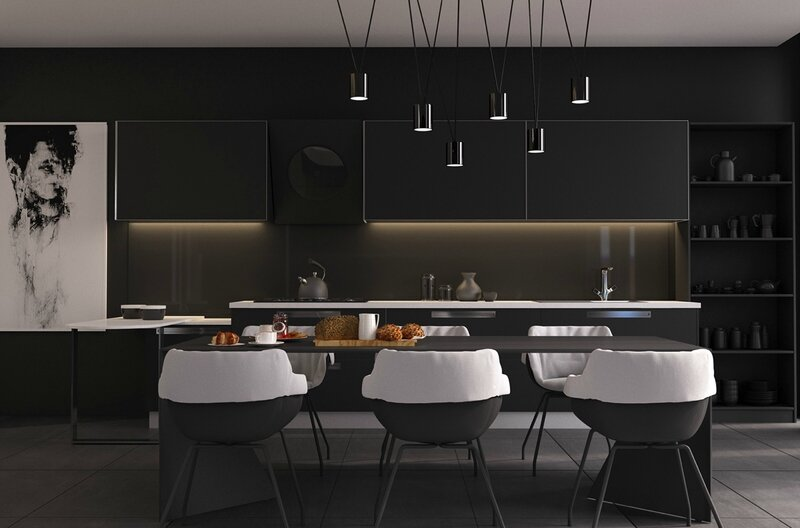 black-and-white-kitchen-and-dining-room