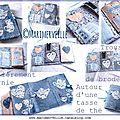 Carnet couture bleu aux tasses création marimerveille