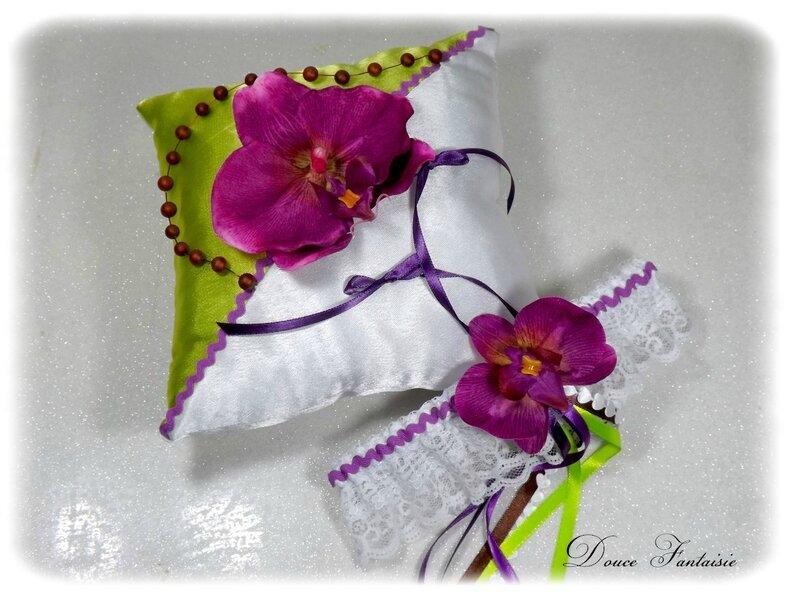 Coussin alliance orchidée violet vert anis