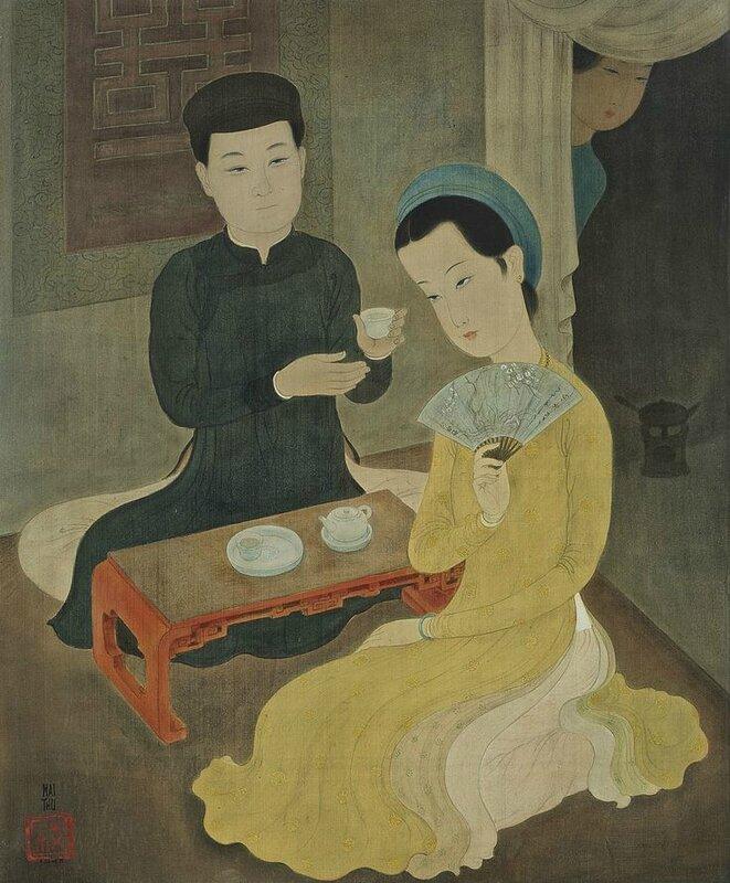 Mai Trung Thu, (1906-1980), L'heure du thé (Tea time), 1945