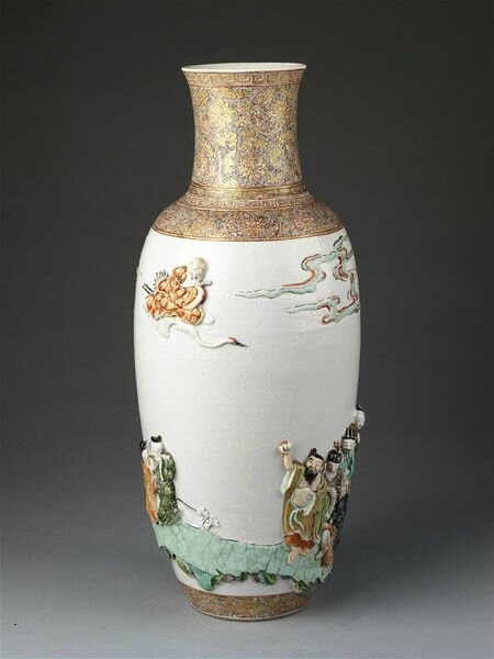 Vase, porcelain with relief decoration painted in overglaze enamels and gilded, China, Qing dynasty, Kangxi period (1662-1722)