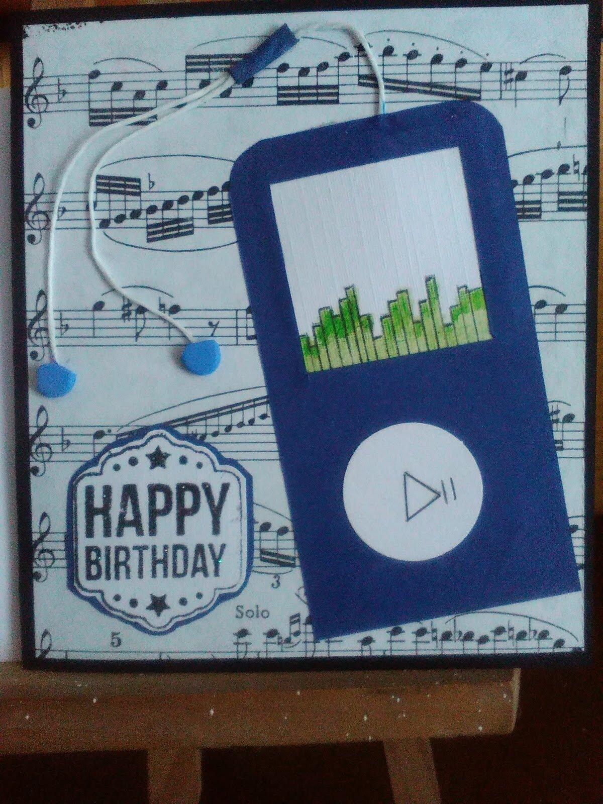 Un MP3 sur une carte d' anniversaire
