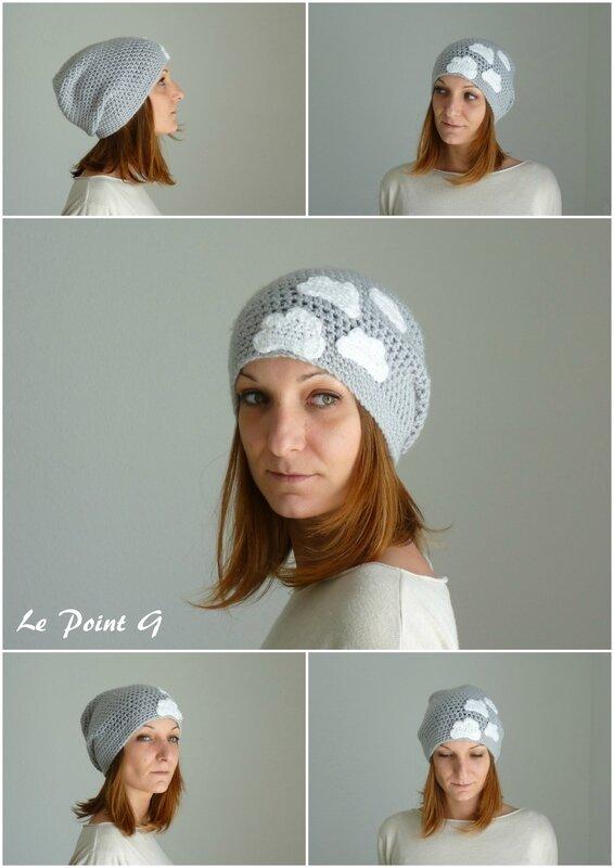 Bonnet Nuage gris clair adulte laine crochet