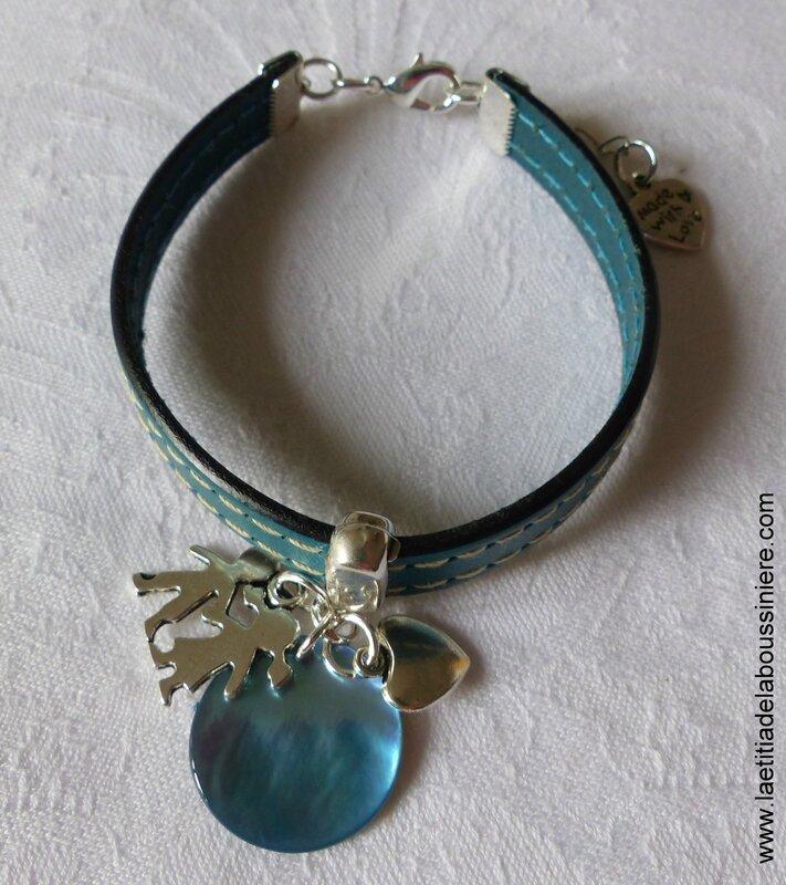 Bracelet cuir pour maîtresse, nounou (turquoise) - 22 €
