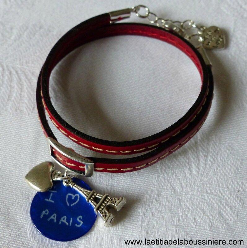 Bracelet cuir double tour I love Paris