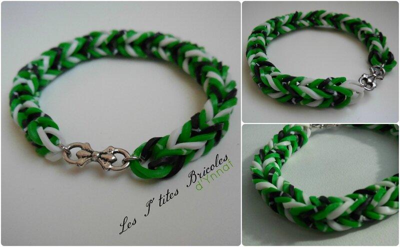 rainbow loom bracelet vert, blanc et noir