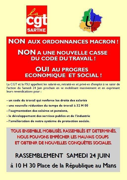 Le Mans, 24 juin 2017 : contre Macron et ses ordonnances !