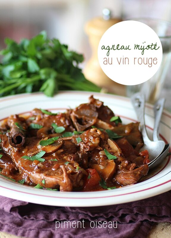 agneau mijoté au vin rouge - Lamb stew in red wine sauce