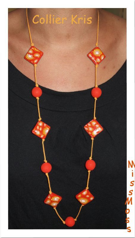 Collier Kris orange rouge
