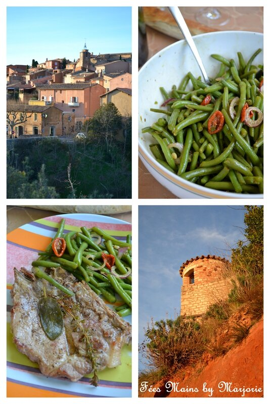 Côte de porc plancha salade de haricots verts et balade à Roussillon1