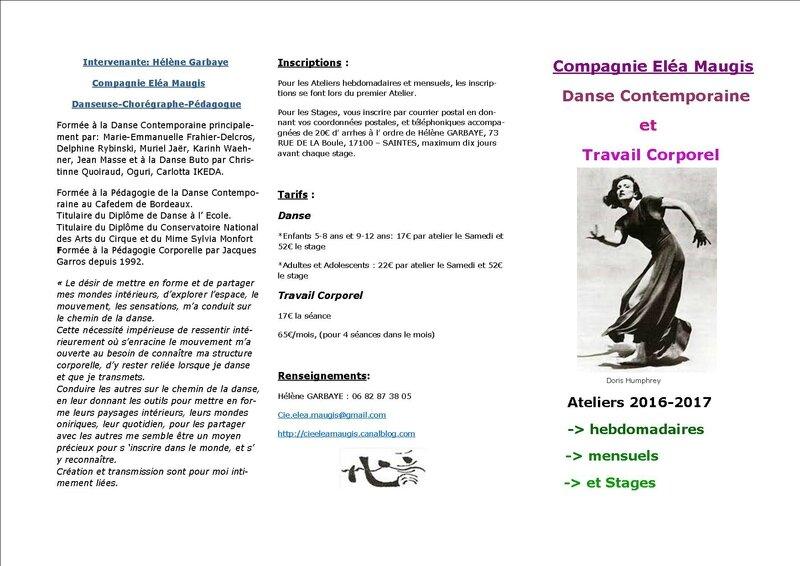 2ième Copie, Brochure 2016-2017, 1ère partie Ateliers Danse et Travail Corporel -