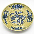 Circular dish with decoration of flowering and fruiting branches, zhengde period, 1506-1521
