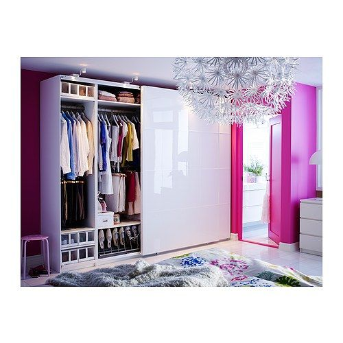 Armoire pax anstad porte coulissante blanc brillant for Porte coulissante salon ikea