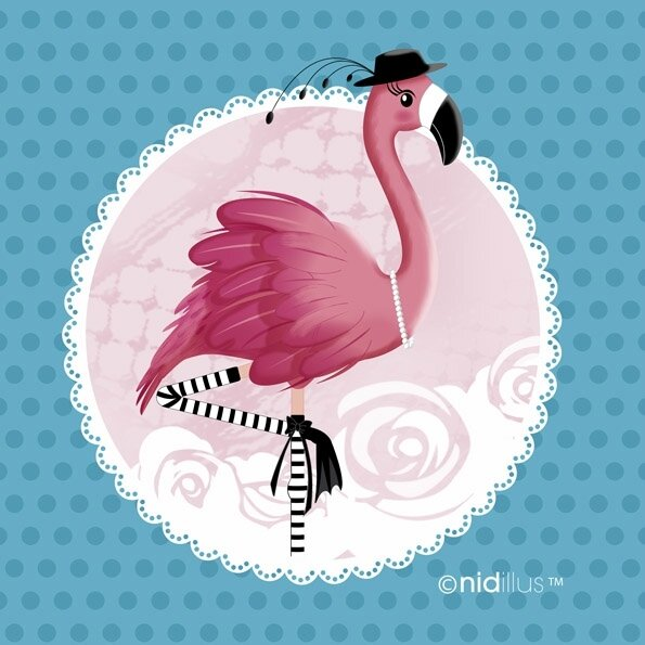 coupon nidillus flamant rose bleu72