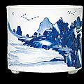 A blue and white brush pot, Kangxi period (1662-1722)