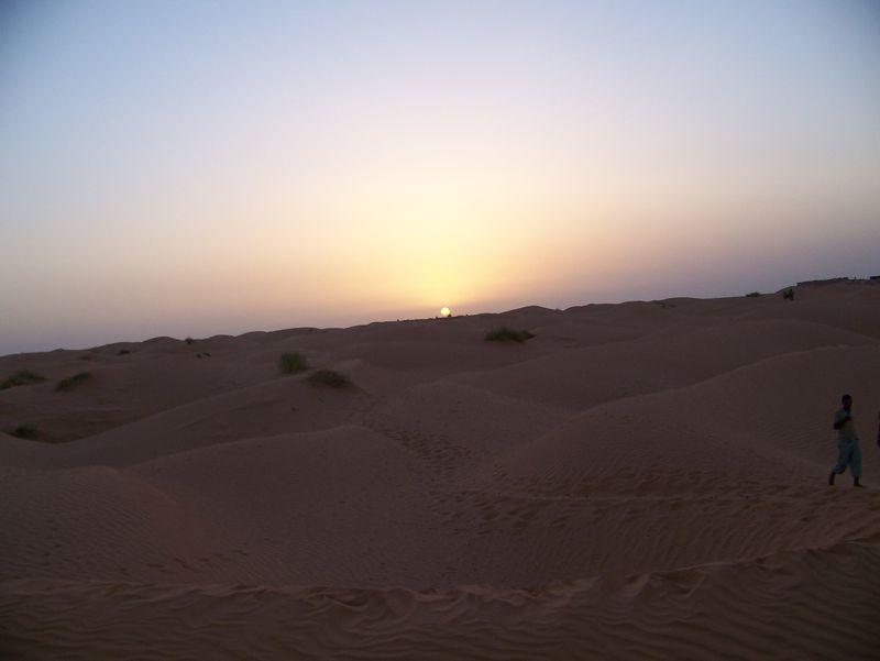 le soleil se couche sur le désert