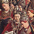 1425-1429 VAN EYCK Adoration de l'Agneau (détail des papes)