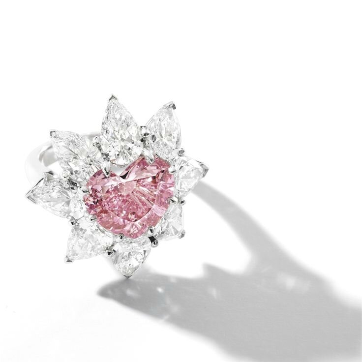 Very Rare Fancy Vivid Pink Diamond and Diamond Ring, mounted by Carvin French