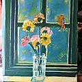 - huile sur toile - fleurs - 50 x 35 -