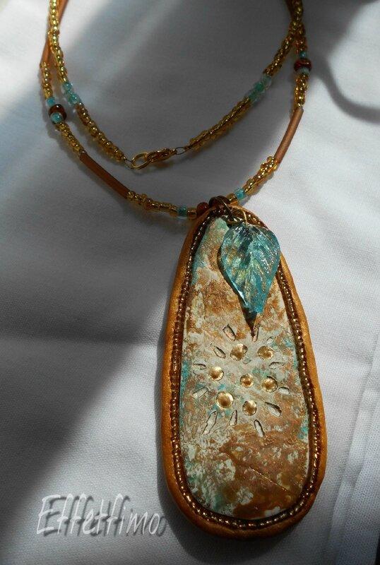 pendentif or et turquoise