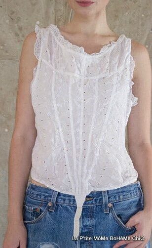 06-MP Eyelet Dasha Corset top with V-Binding Cotton lace trim and Twill ties in back, White