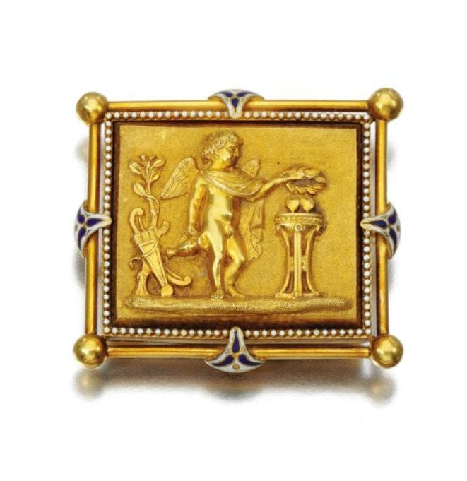 Gold and enamel brooch john brogden circa 1860 alain r for The triumph of love jewelry 1530 1930