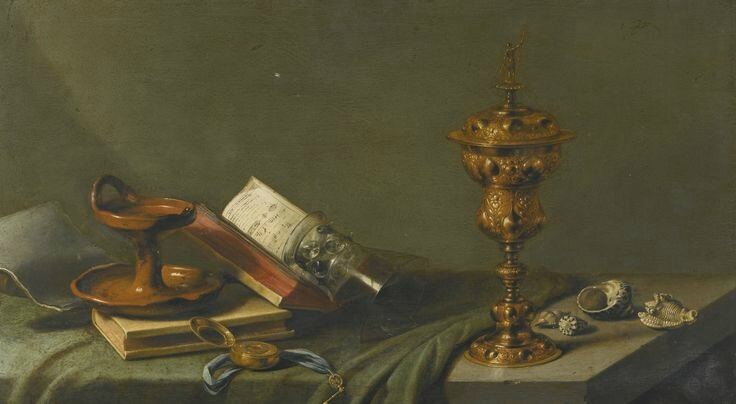 Pieter Claesz., Still-life with an oil lamp, a pocket watch, an open song book, an overturned Roemer, a gilded covered cup...