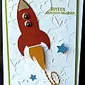Une fusée ... un embossage étoilé ... une touche de broderie ... une carte d'anniversaire pour garçon !