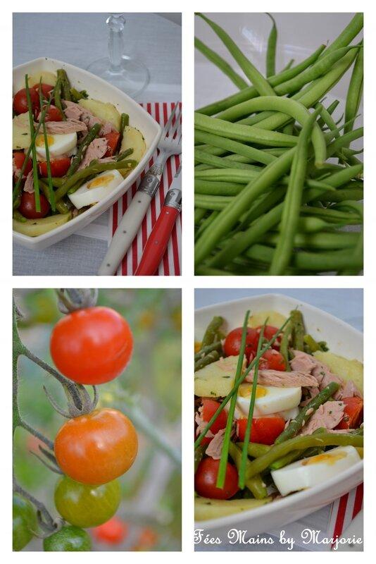 Salade haricots verts, pommes de terre, tomates cerise et thon1