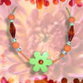 Collier Fimo sucre orange et maxi fleur acrylique anis (N)