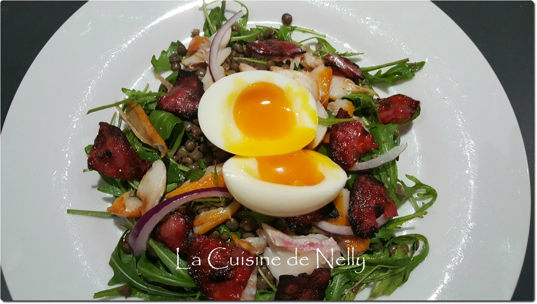 salade de lentilles roquette haddock oeuf mollet et chorizo croquant la cuisine de nelly. Black Bedroom Furniture Sets. Home Design Ideas