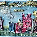 My #3up project for paperartsy: christmas village