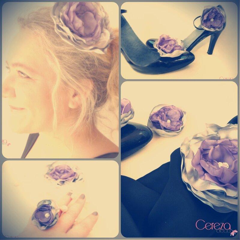 parure bijou et coiffure grande fleur faite main violet argent strass fêtes mariage soirée cereza deco 6 earl