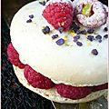 Macaron à la noisette, crème fouetté vanille, framboises fraîches