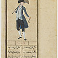 Folio from a hubanname (book of the fair); verso: man dressed in european costume, circa 1780. ottoman period. istanbul, turkey