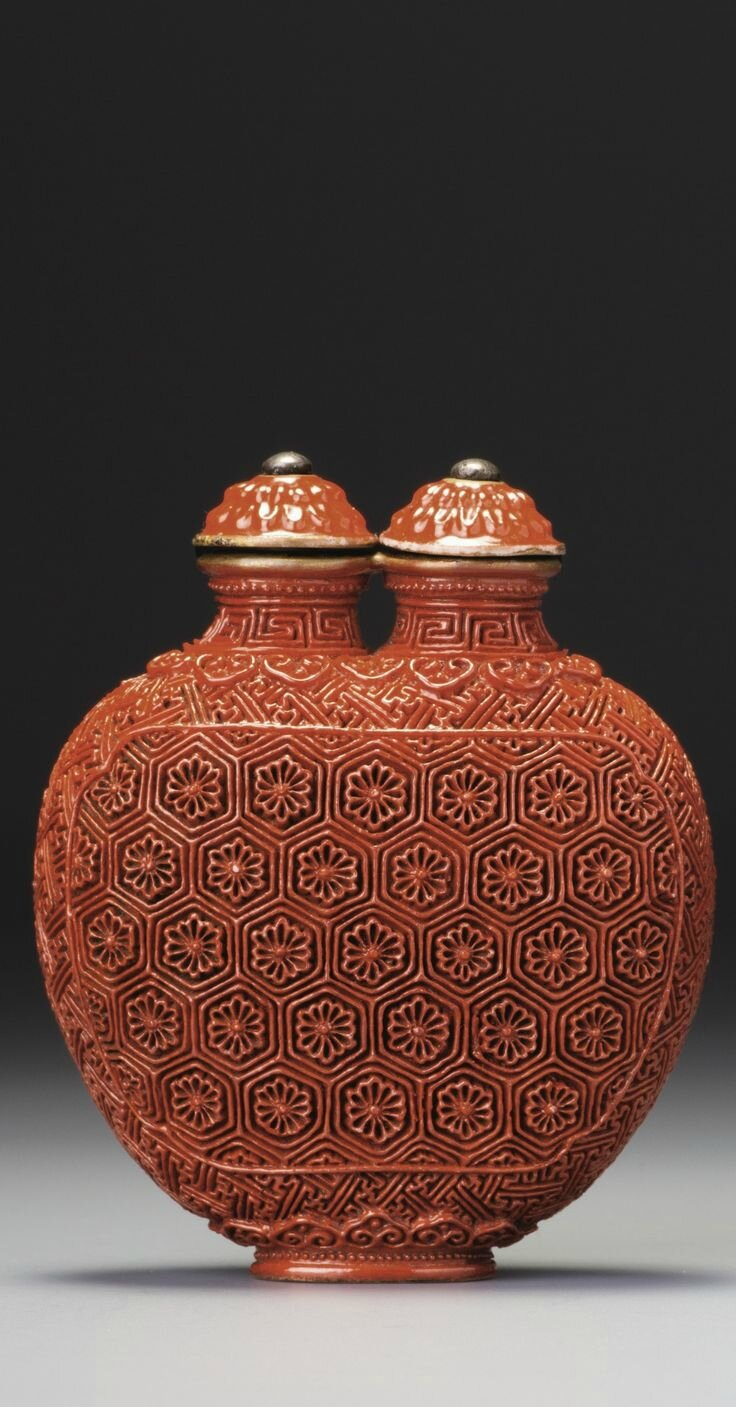 An 'imitation-lacquer' porcelain double snuff bottle seal, Mark and period of Jiaqing