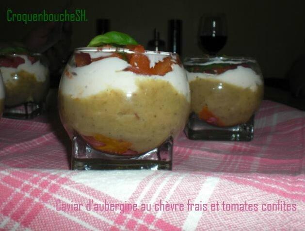 Caviar d'aubergine au chèvre frais et tomates confites