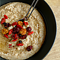 Porridge son d'avoine-son de ble & superfruits, riz au lait & superfruits, flapjacks & superfruits