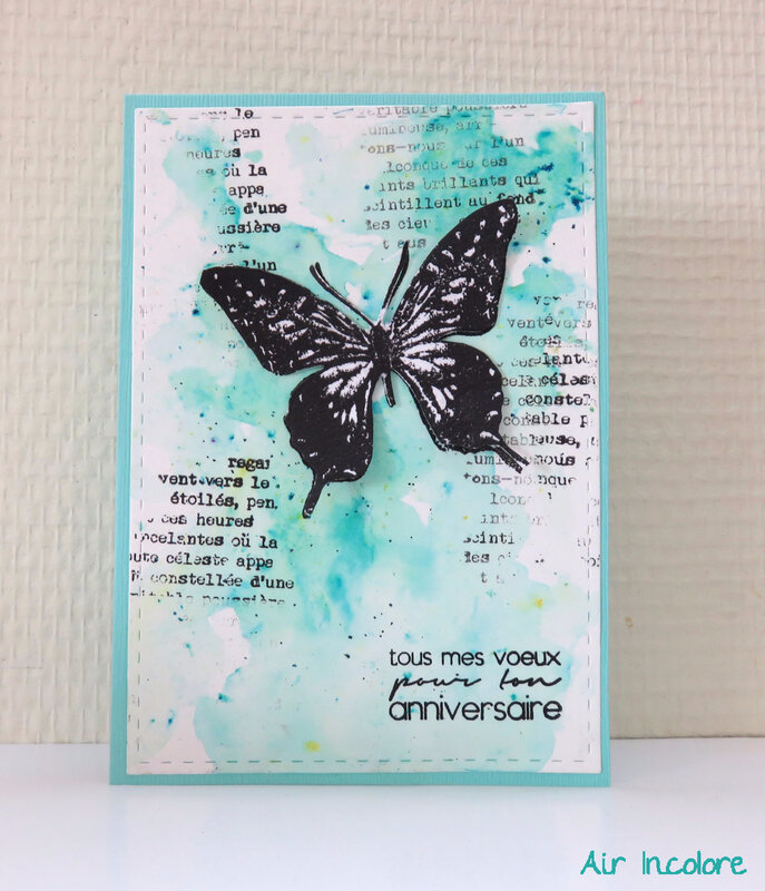 Birthday butterfly card. Carte d'anniversaire au papillon . par Air Incolore