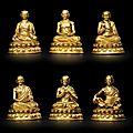 A group of six sakya lamdre lineage masters, tibet, circa 15th century