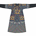 An embroidered blue gauze summer dragon robe, jifu, 19th century