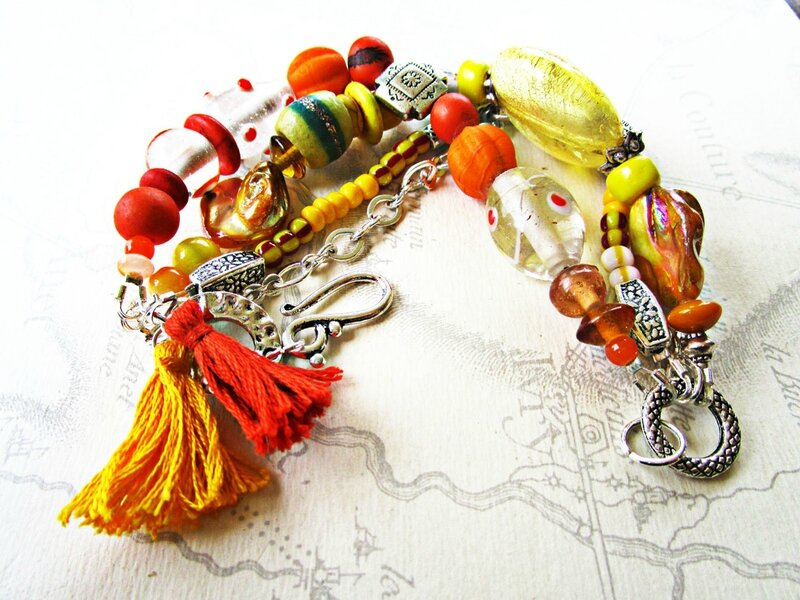 bracelet orange et jaune 003