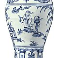 A finely painted and rare blue and white vase (meiping), ming dynasty, late 15th century