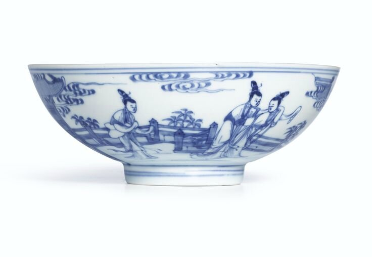 A blue and white Ming-style bowl, Mark and period of Yongzheng