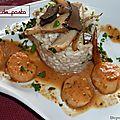 Noix de pétoncle aux cépes et truffe,accompagnées de son risotto.