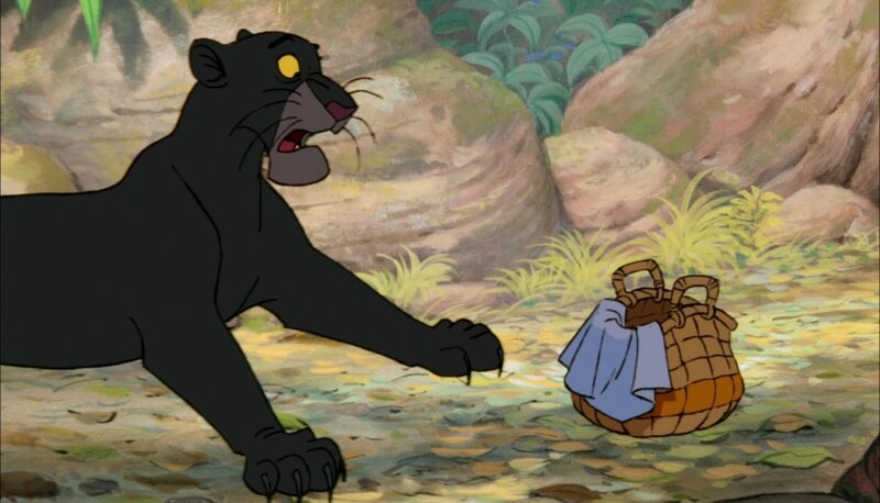 Bagheera_The_Black_Panther_is_scared_of_little_baby_Mowgli's_crying