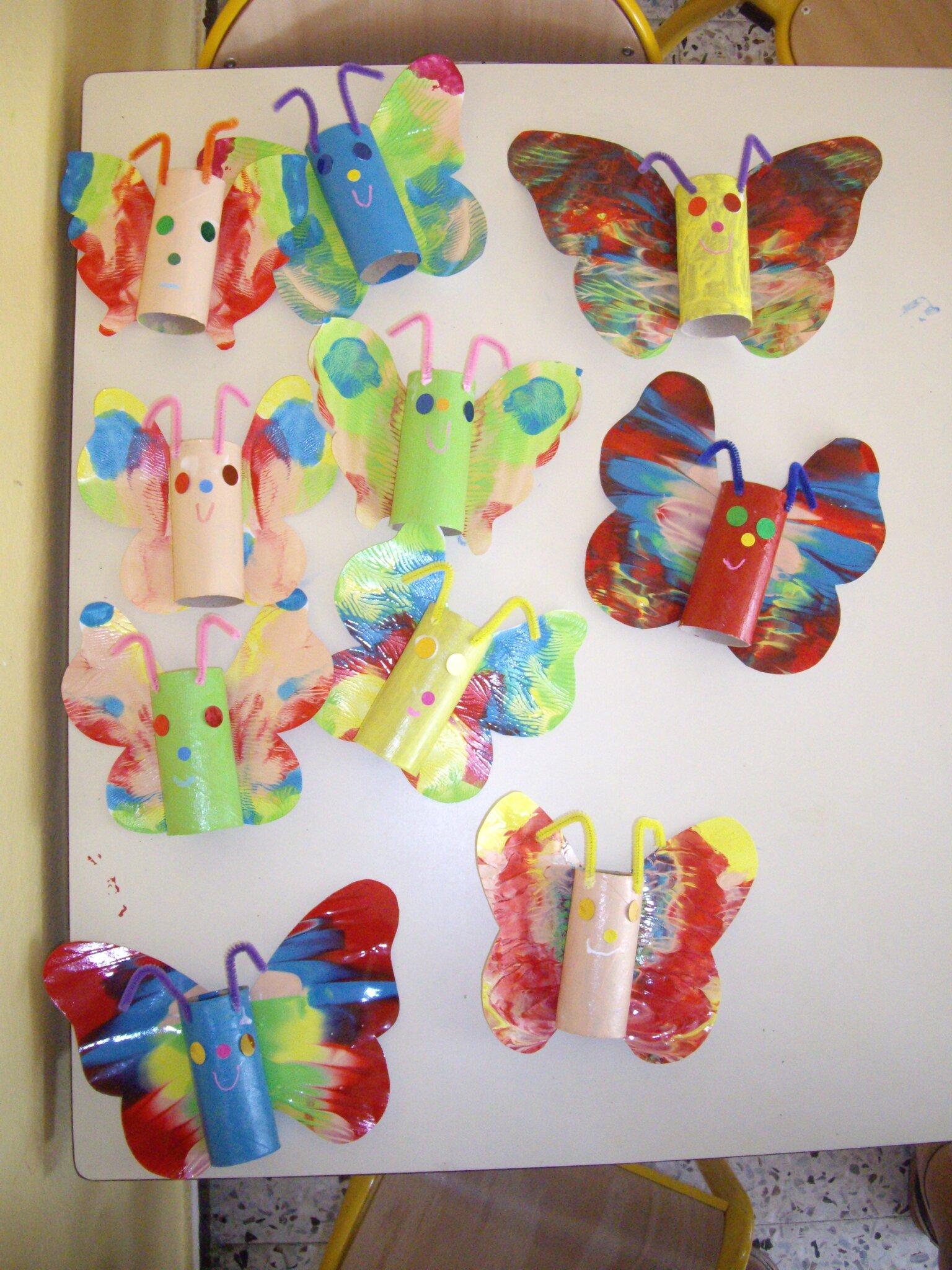 Des papillon en 3d arts visuels en maternelle - Papillon maternelle ...