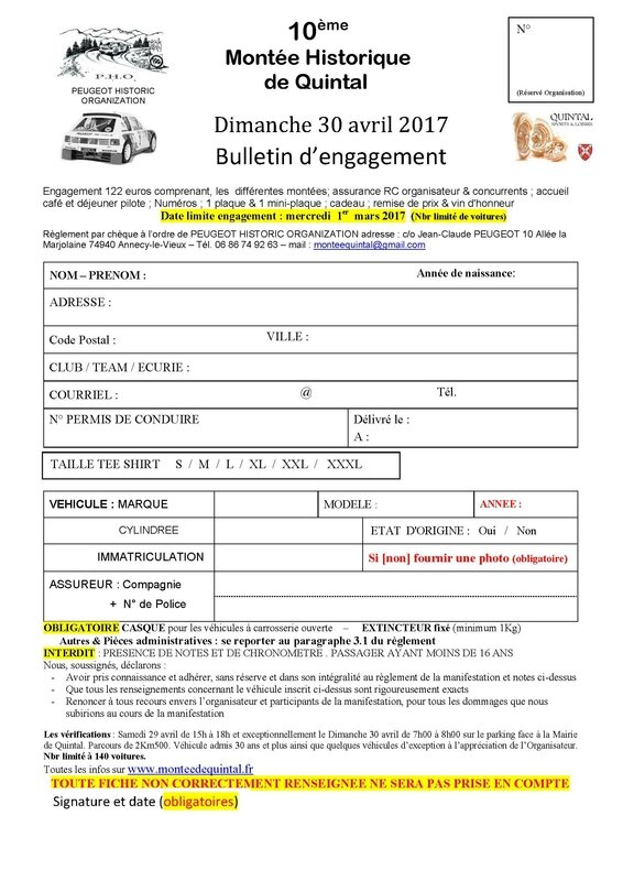 Bulletin d'engagement 2017-autos